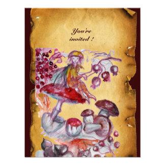 MAGIC FOLLET OF MUSHROOMS parchment Invitation
