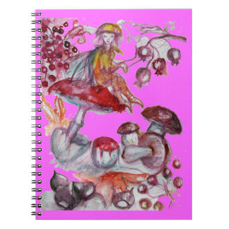 MAGIC FOLLET OF MUSHROOMS,Pink Violet Notebooks