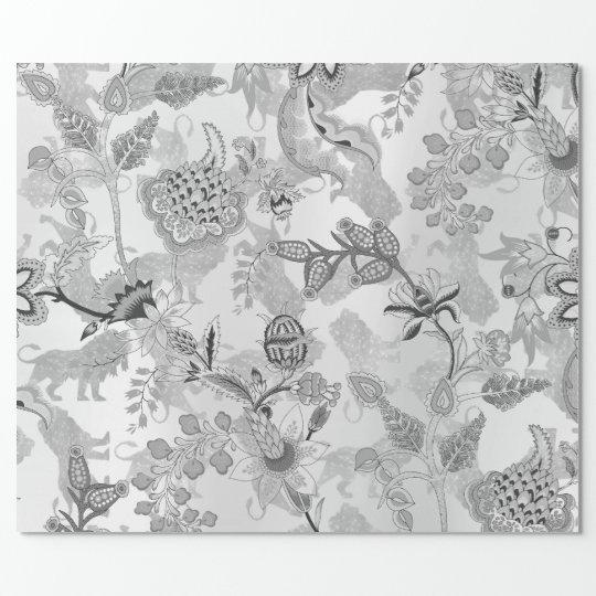 Magic Garden Lions Floral Silver Gray Lux Oriental