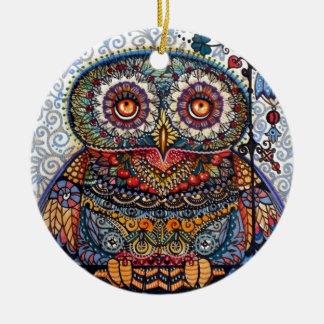 Magic graphic owl painting round ceramic decoration