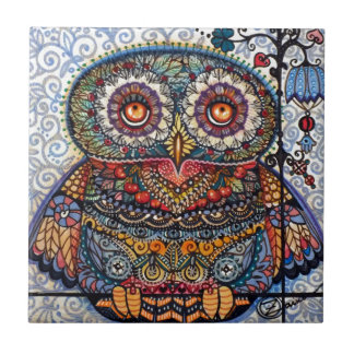 Magic graphic owl painting small square tile
