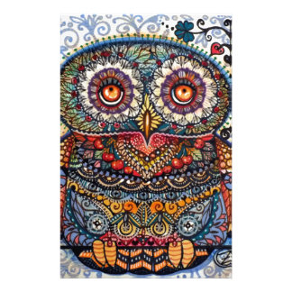 Magic graphic owl painting stationery design