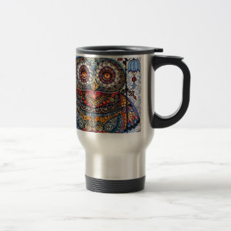 Magic graphic owl painting travel mug