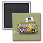 Magic Hippie Van Square Magnet