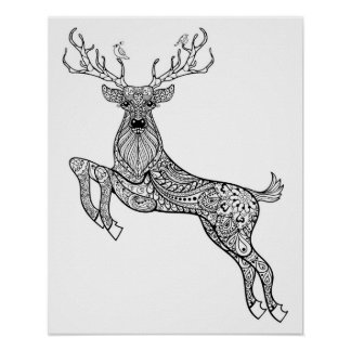 Magic Horned Deer With Birds Doodle 2 Poster