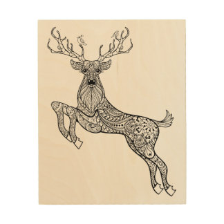 Magic Horned Deer With Birds Doodle 5 Wood Canvas