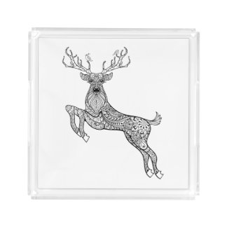 Magic Horned Deer With Birds Doodle Acrylic Tray
