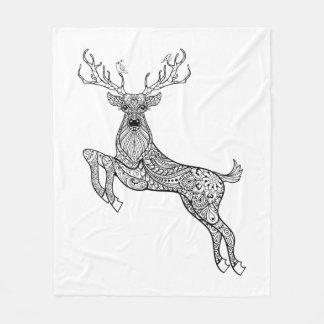 Magic Horned Deer With Birds Doodle Fleece Blanket