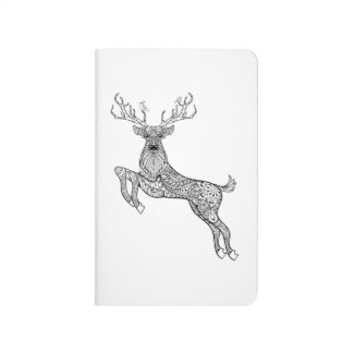 Magic Horned Deer With Birds Doodle Journals
