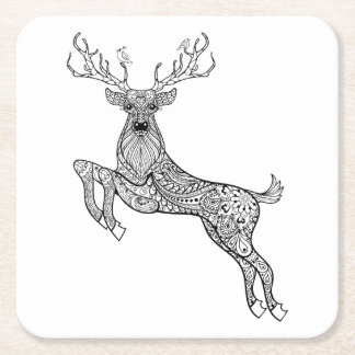 Magic Horned Deer With Birds Doodle Square Paper Coaster
