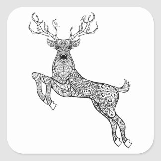 Magic Horned Deer With Birds Doodle Square Sticker
