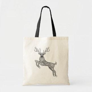 Magic Horned Deer With Birds Doodle Tote Bag