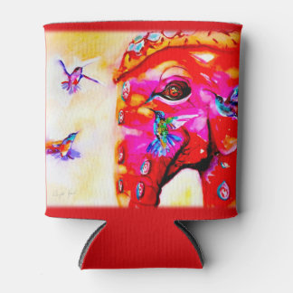 """Magic in All Sizes"" Hummingbirds & Elephant Print Can Cooler"