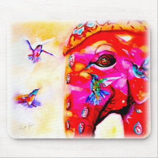 """Magic in All Sizes"" Hummingbirds & Elephant Print Mouse Mat"