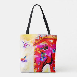 """Magic in All Sizes"" Hummingbirds & Elephant Print Tote Bag"