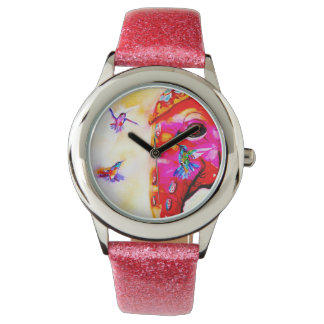 """Magic in All Sizes"" Hummingbirds & Elephant Print Watch"