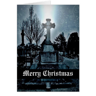 Magic in the cemetery Gothic Merry Christmas Greeting Card