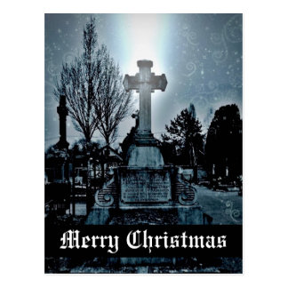 Magic in the cemetery Gothic Merry Christmas Postcard