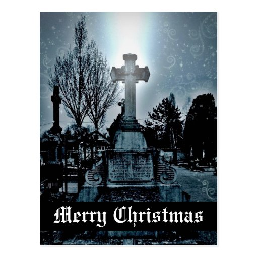 Magic in the cemetery Gothic Merry Christmas Post Cards
