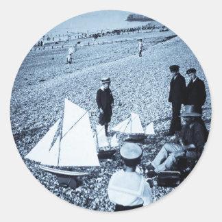 Magic Lantern Slide Boys at the Seaside, France Stickers