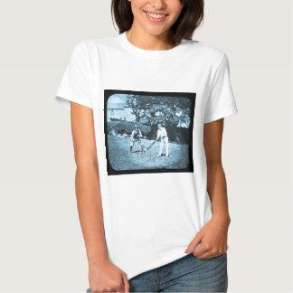 Magic Lantern Slide Cricket Players Cyan T-shirts