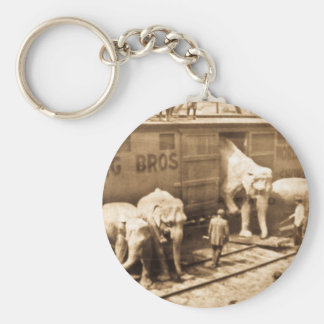 Magic Lantern Slide Ringling Bros Elephant Train Basic Round Button Key Ring