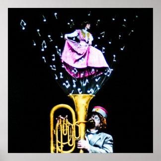 Magic Lantern Vintage Tuba Player and Magic Music Poster