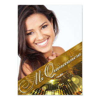 "Magic Lights Photo Quinceanera - gold 5"" X 7"" Invitation Card"