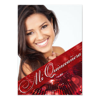 "Magic Lights Photo Quinceanera - red 5"" X 7"" Invitation Card"