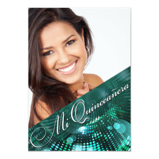 Magic Lights Photo Quinceanera - teal 13 Cm X 18 Cm Invitation Card