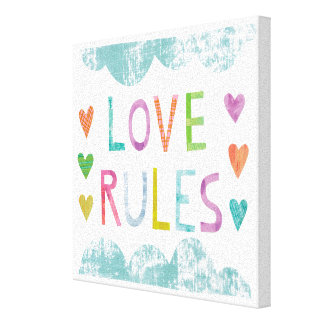 Magic Love Rules with Hearts Canvas Print