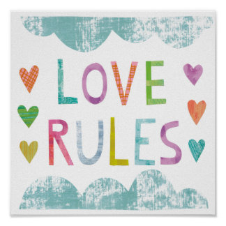 Magic Love Rules with Hearts Poster