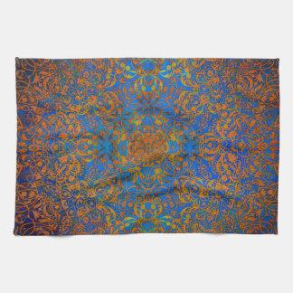 magic mandala blue tea towel