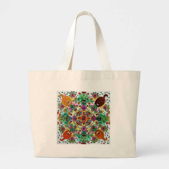 Magic mandala cats large tote bag