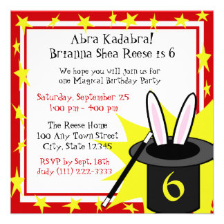 Magic Me Birthday Invite
