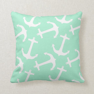 Magic Mint and White Anchors Cushion