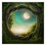 Magic Moon Tree Poster