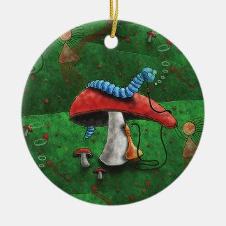 Magic Mushroom Round Ceramic Decoration