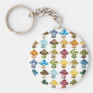 Magic Mushroom Smiley Pattern Key Ring
