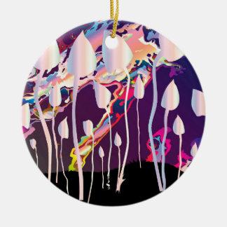 Magic Mushrooms Jazz Background Round Ceramic Decoration