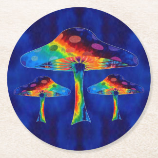 Magic Mushrooms Round Paper Coaster
