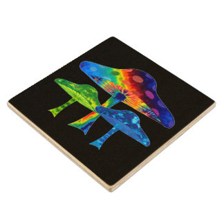 Magic Mushrooms Wood Coaster