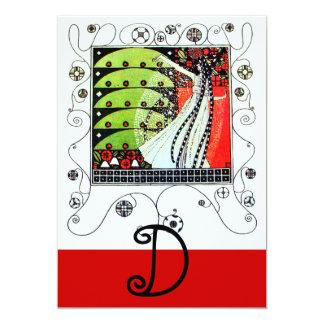 MAGIC OF THE  SPRING ,bright red black white green 13 Cm X 18 Cm Invitation Card