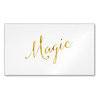 Magic Quote Faux Gold Foil Quotes Humor Sparkly Magnetic Business Card