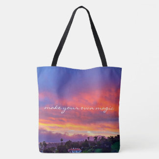 """""""Magic"""" quote pink yellow and blue sunrise photo Tote Bag"""