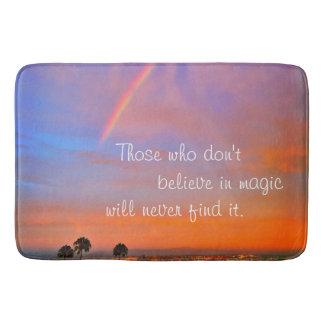"""Magic"" quote vivid rainbow sunrise photo bath mat"