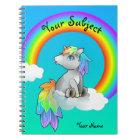 Magic Rainbow Unicorn School Subject Customisable Notebook