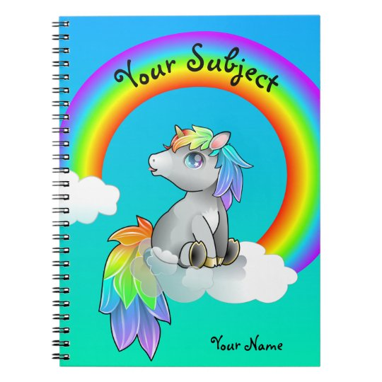 Magic Rainbow Unicorn School Subject Customisable Spiral
