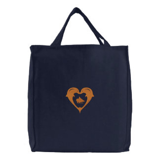 Magic realism Dolphin Apple Embroidered Bag