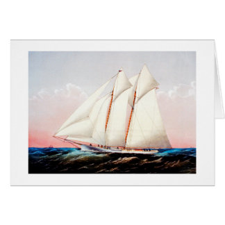 Magic, schooner yacht greeting card